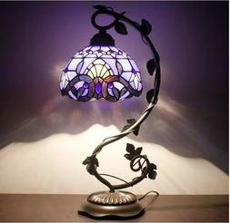 #1 Stained Glass Reading Lamp Table Light Blue Purple Desk B