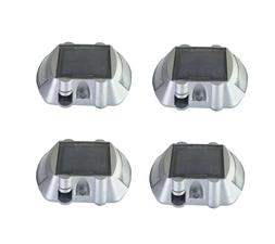 4-Pack Solar Road Pathway Deck Dock Warning Lights with 6 Br