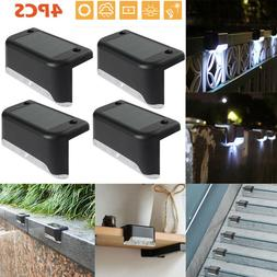 4PCS Solar Powered Fence Deck Lights Wall Step Stairs LED Ou