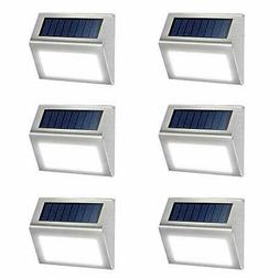 6 Pack Solar Deck Lights Bright 3 LED Stair Lights Auto Whit