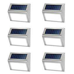 6 Pack Solar Deck Lights Bright 3 LED Stair Lights Auto On/O