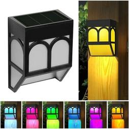 6pcs Solar Fence Lights Color Changing Outdoor Garden Wall L