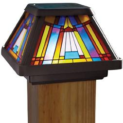 Moonrays Post Cap Lamp In Stained Glass Design