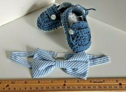 Baby Light Blue Bowtie and Deck Loafer Shoes . Hand made in