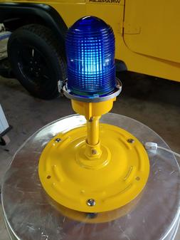 Genuine Blue Fresnel glass Taxiway Lights repurposed to desk
