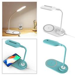 LED Desk Lamp Home Light QI Wireless Phone Charger Pad For O