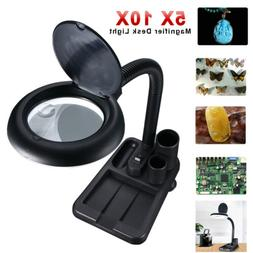 Magnifying Perfect Glass Desk Lamp With 5X 10X Magnifier Wit