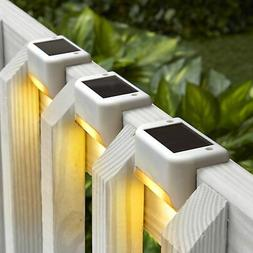 Solar Deck Lights - Wall Mounted Outdoor Fence Lighting - Wh