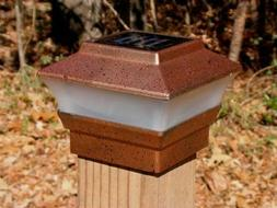 Solar Powered Deck Post Cap Light Copper Color With 2 SMD LE
