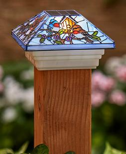 STAINED GLASS SOLAR FENCE DECK MAILBOX POST CAP ACCENT LIGHT